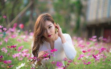 цветы, поза