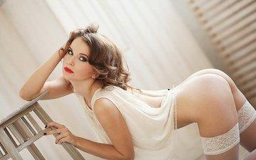 девушка, фото, взгляд, попа, модель, чулки, позирует, голая