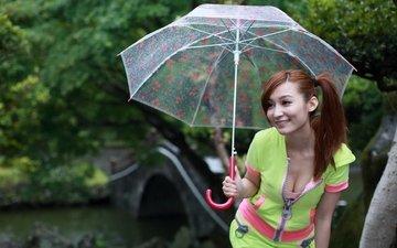 девушка, улыбка, взгляд, волосы, зонт, лицо, зонтик, азиатка