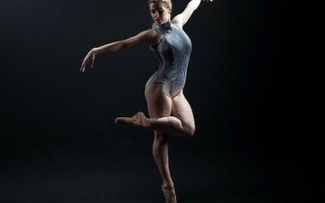 девушка, фон, поза, танец, ножки, черный фон, лицо, пуанты