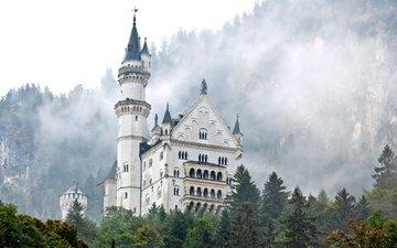 туман, замок, башня, германия, нойшванштайн, бавария