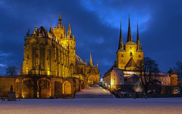 lights, the evening, church, germany, cathedral, erfurt