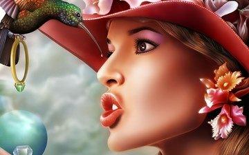 цветы, девушка, брюнетка, взгляд, модель, профиль, птица, клюв, волосы, губы, лицо, шляпа, красивая, колибри