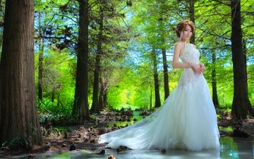 лес, платье, поза, невеста, свадебное платье