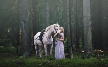 forest, pose, horse