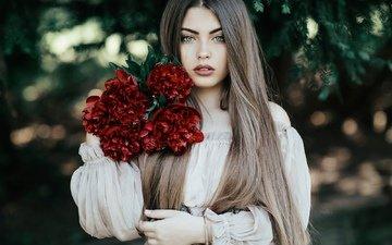 цветы, девушка, платье, взгляд, модель, позирует, пионы, jovana rikalo