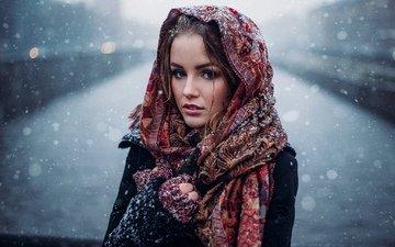 снег, зима, девушка, брюнетка, модель, позирует