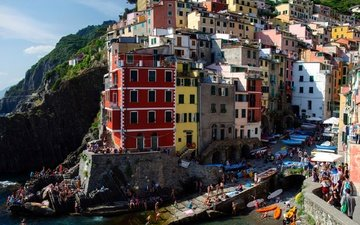 sea, rock, home, italy, riomaggiore, cinque terre, the ligurian coast