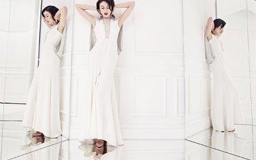 отражение, платье, поза, брюнетка, модель, актриса, макияж, прическа, фигура, в белом, стоит, ольга куриленко, зеркала