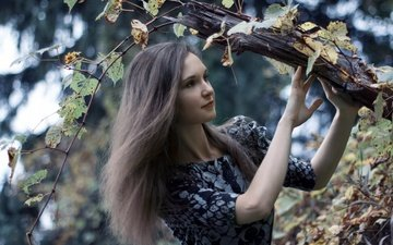 природа, девушка, поза, взгляд, волосы, лицо