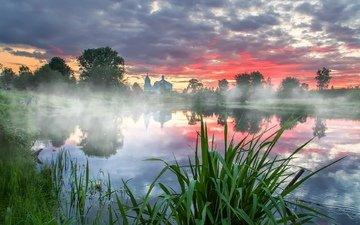 река, храм, закат, отражение, туман, лето, осока