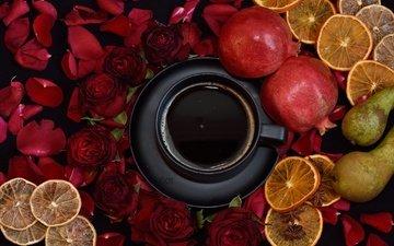 розы, лепестки, фрукты, кофе, лимон, чашка, груши, гранат