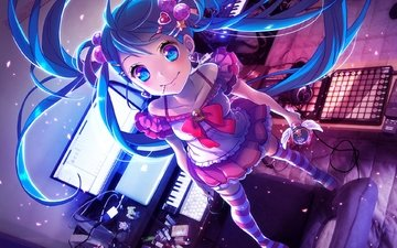synth, microphone, keyboard, vocaloid, hatsune miku