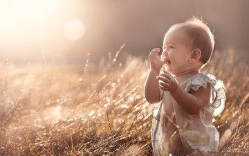 свет, трава, природа, радость, ребенок, малыш, рубашка