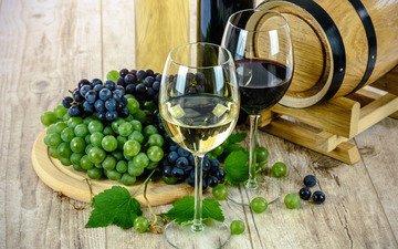 виноград, вино, бокалы