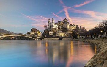 замок, швейцария, крепость аарбург
