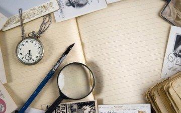 винтаж, часы, фотографии, лупа, книга, перо, тетрадь, открытки, дневник