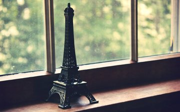 figurine, window, eiffel tower, souvenir
