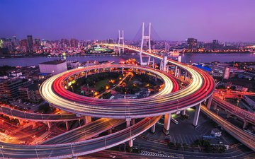 дорога, ночь, мост, город, шанхай, размытость, китай, городской пейзаж, мост нанпу