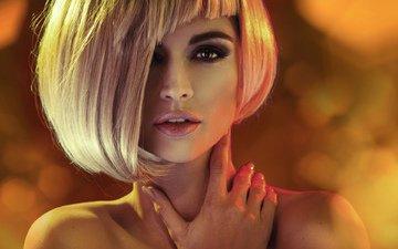 girl, blonde, portrait