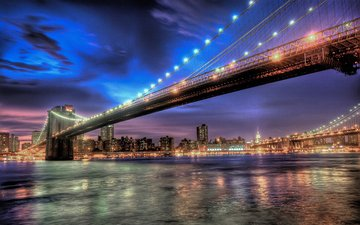 ночь, огни, мост, город, нью-йорк