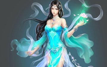 art, girl, fantasy, lotus, magic