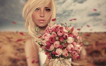 flowers, art, girl, blonde, roses, bouquet