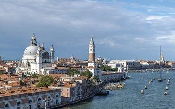 город, венеция, причал, залив, дома, италия