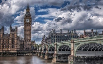 clouds, bridge, london, thames, the city, england, big ben, the palace of westminster