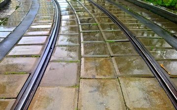 rails, the city, rain, turn, tramvaynye way, the sky in the rain