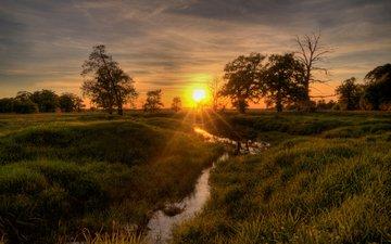 река, природа, закат, пейзаж, ручей
