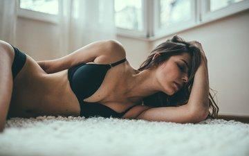 девушка, модель, грудь, фигура, тело, бюстгальтер