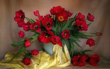 цветы, стол, ткань, букет, тюльпаны, ваза, натюрморт, композиция, vera-pawluhina