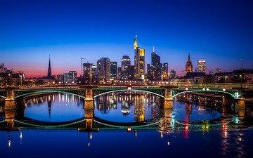 ночь, река, мост, город, дома, германия, франкфурт-на-майне