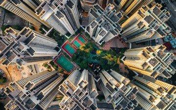 город, небоскребы, китай, гонконг