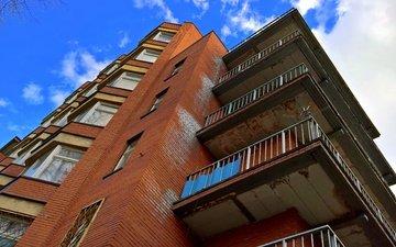 город, дом, архитектура, кирпич, балкон