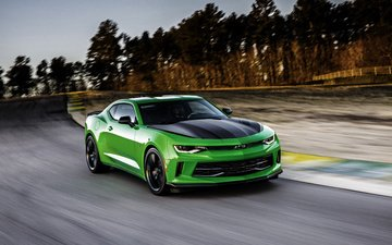supercar, chevrolet camaro, chevrolet, speed, green chevrolet