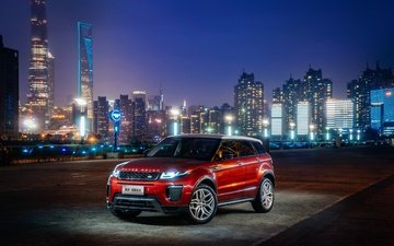 city, shanghai, china, evening, cars, land rover