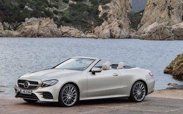cars, cabrio, mercedes-benz, mercedes, sea shore