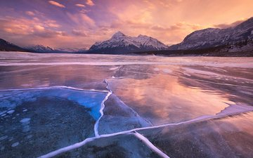 the sky, clouds, lake, mountains, nature, sunset, winter, ice, canada, albert, abraham lake