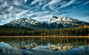 небо, облака, деревья, озеро, горы, лес, отражение, канада, альберта