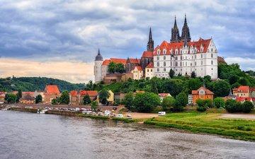 река, замок, германия, майсен, замок альбрехтсбург