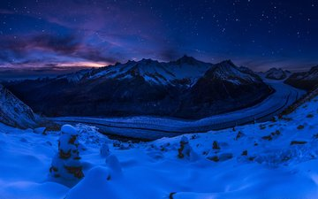 night, mountains, snow, nature, winter, landscape, switzerland, glacier
