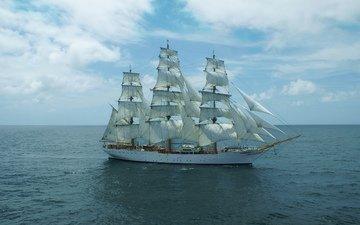 the sky, sea, ship, sailing