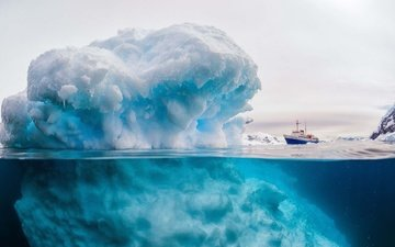nature, sea, ship, ice, iceberg, antarctica