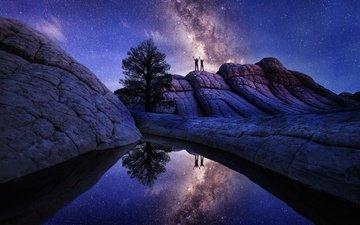 ночь, космос, камни, отражение, звезды, сша, аризона