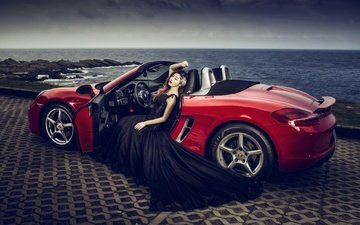 girl, asian, car, black dress, porsche, convertible