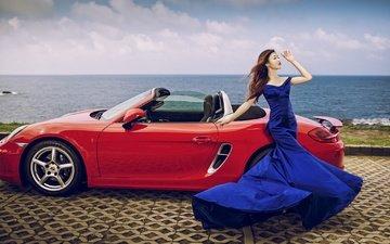 style, girl, sea, dress, promenade, asian, car, porsche, convertible