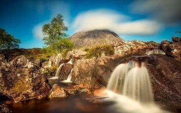 горы, холмы, природа, водопад, шотландия, аспен хайлендс