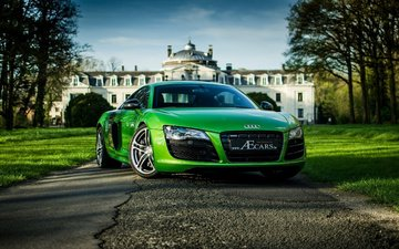 audi, tuning, cars, supercar, audi r8, green
